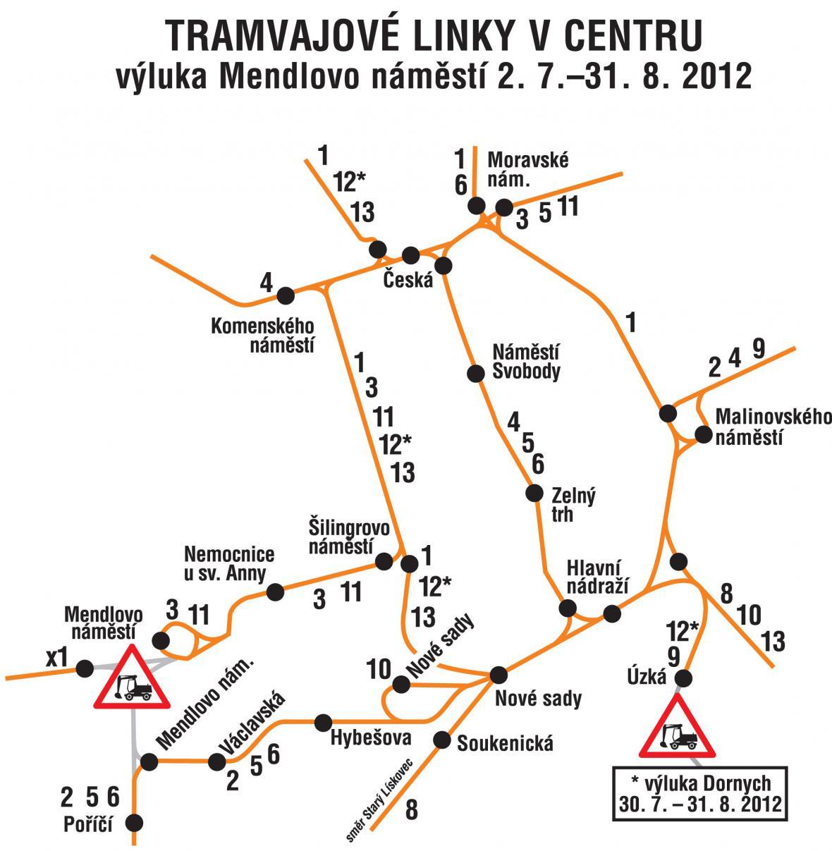 Tramvajové linky v centru Brna
