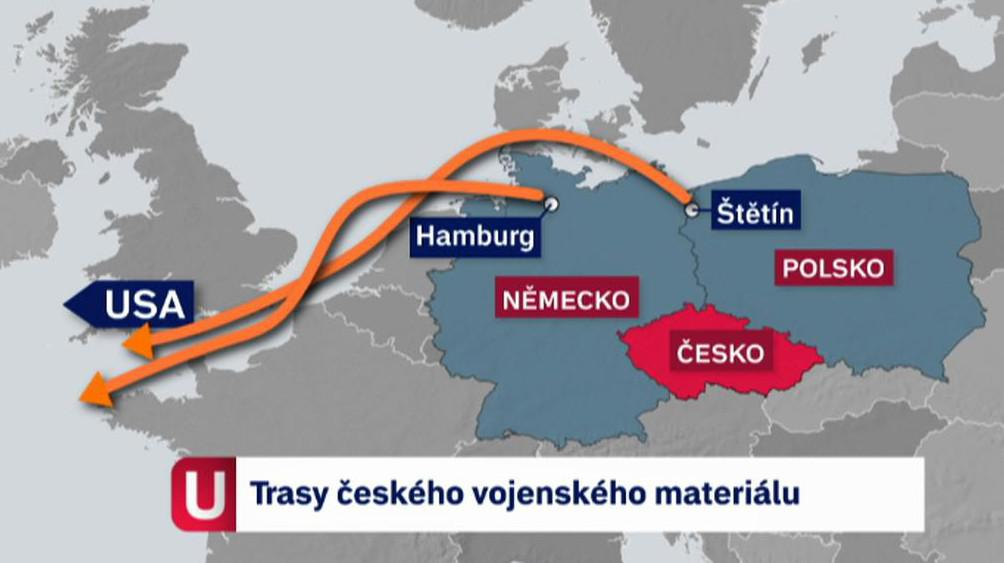 Trasy českého vojenského materiálu