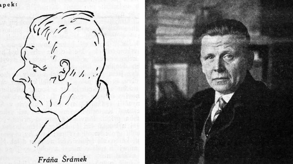 Fráňa Šrámek na karikatuře od Karla Čapka a na fotografii z pol. 20. let 20. st.