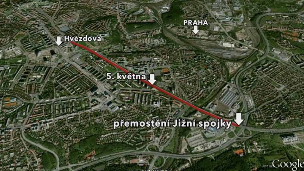 Mapka omezení dopravního úseku v Praze