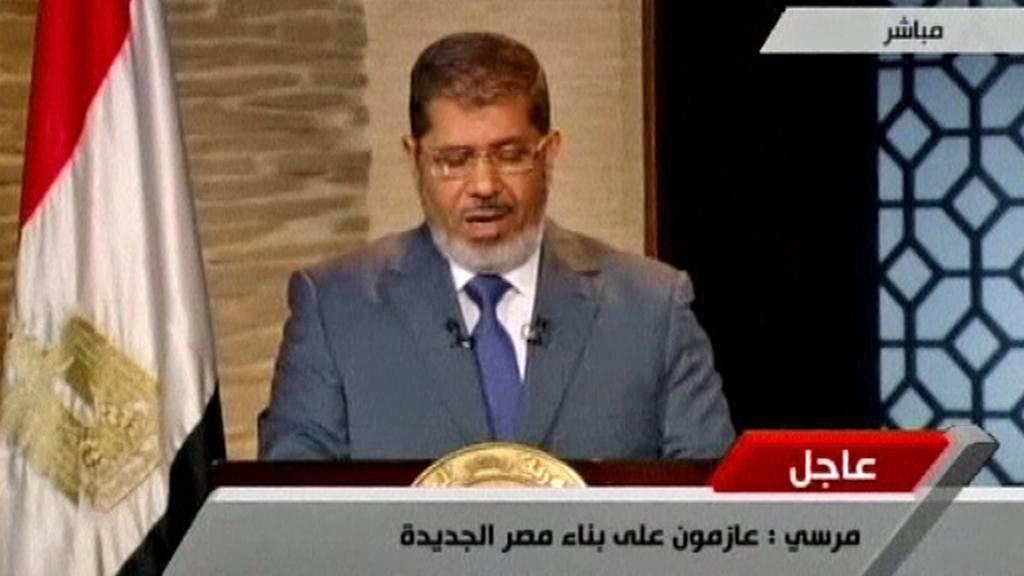 Muhammad Mursí při prvním prezidentském projevu