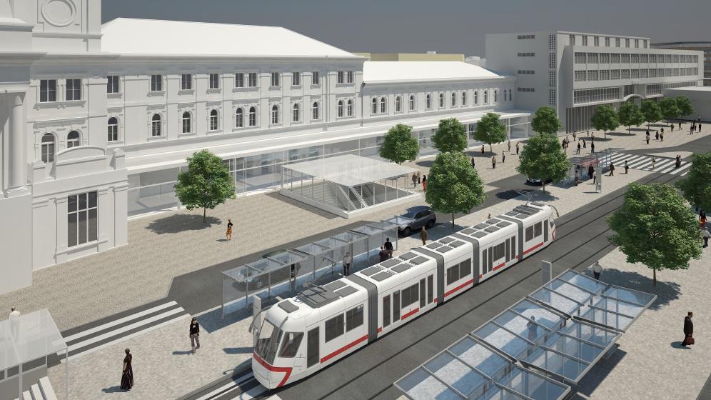 Nová podoba nástupišť MHD před nádražní budovou