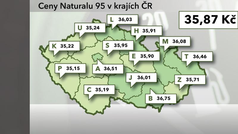Cena Naturalu 95 v ČR ke 25. červnu 2012