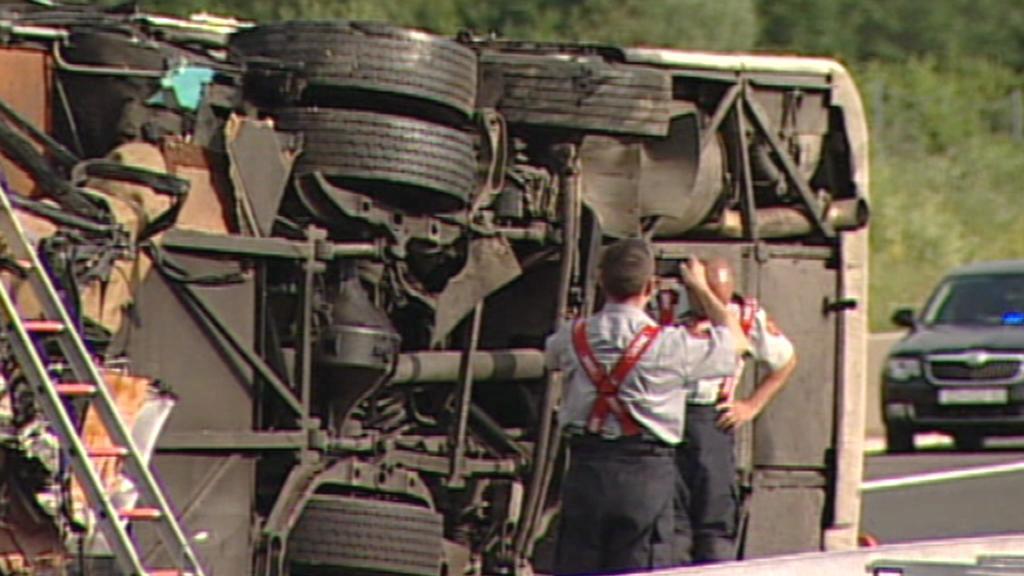 Převrácený autobus v Chorvatsku