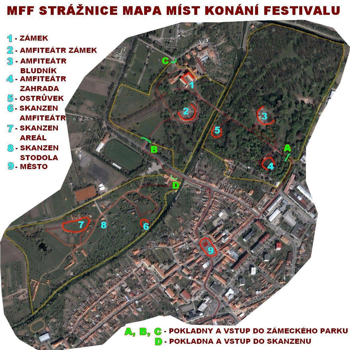 Mapa míst konání festivalu ve Strážnici