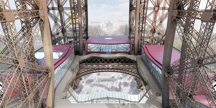 Vizualizace nové podoby prvního patra Eiffelovky