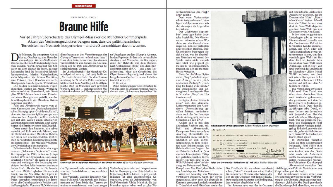 Der Spiegel 25/2012 o pozadí mnichovského atentátu