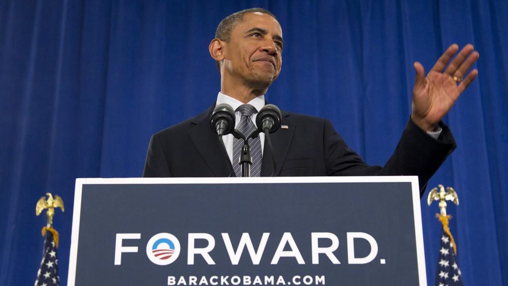 Prezident Obama těsně před svým projevem v Clevelandu