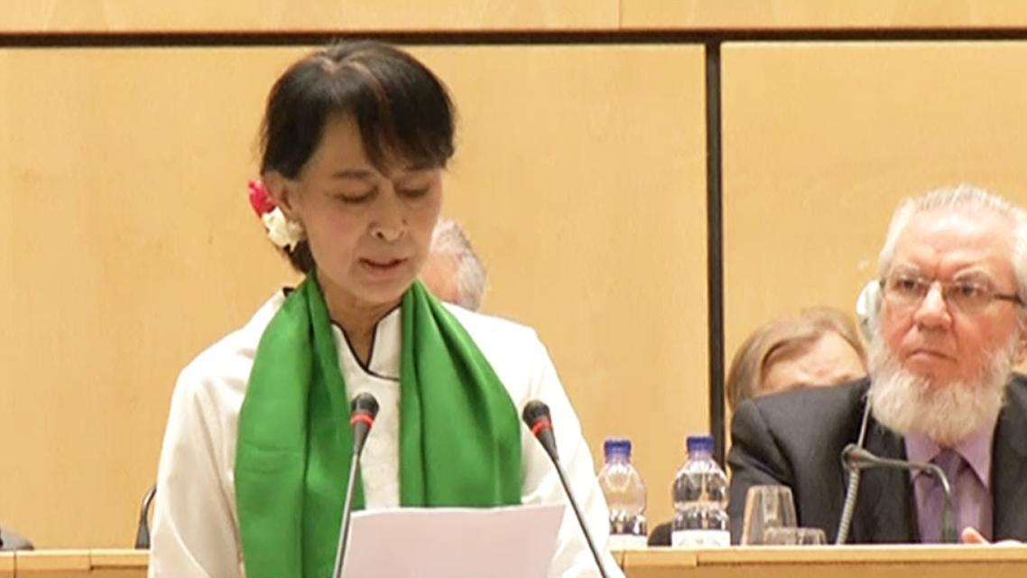 Su Ťij při projevu na konferenci MOP v Ženevě