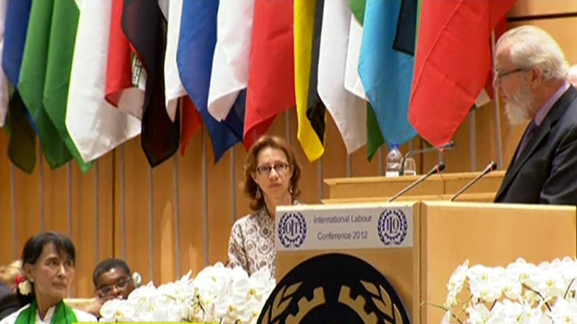 Su Ťij na konferenci MOP v Ženevě
