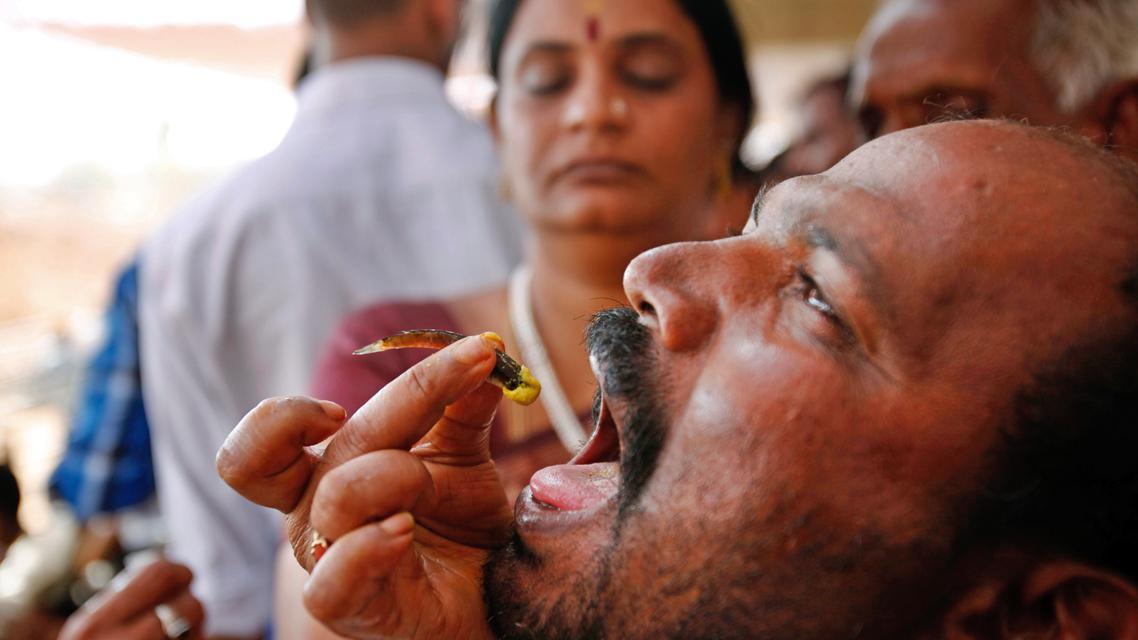 Léčba astmatu pomocí živých rybek v Hajdarábádu