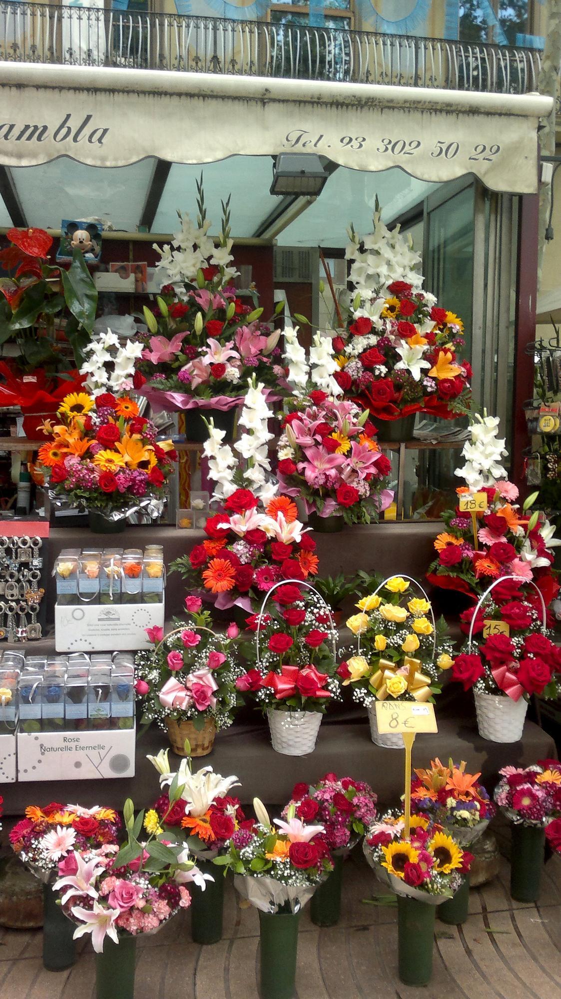 Stánek s květinami na Las Ramblas