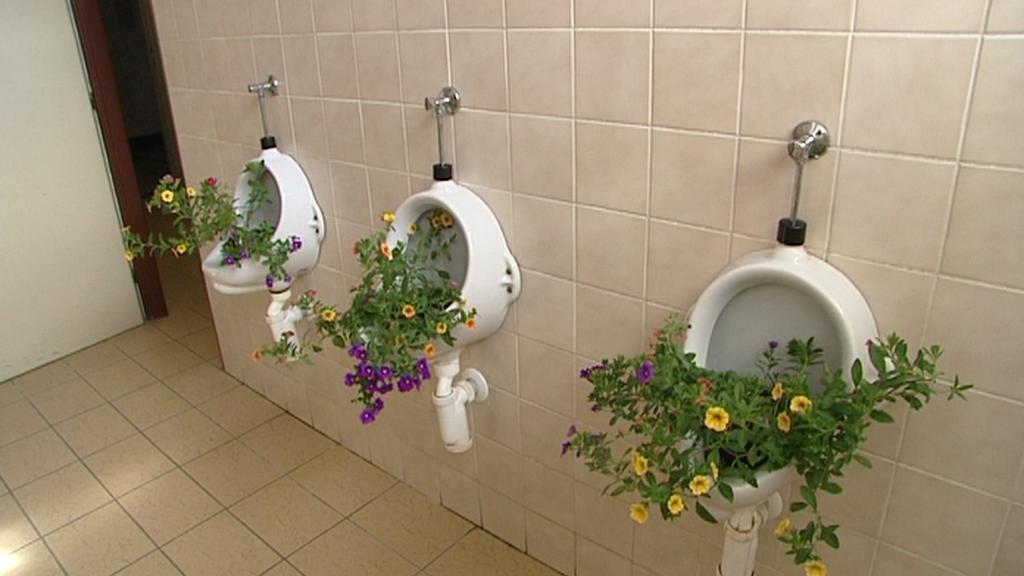 """Pisoáry na """"dámském záchodě"""""""