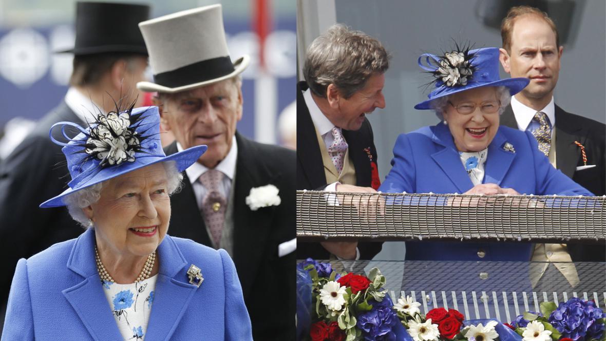 Alžběta II. a princ Philip na dostizích v Epsomu