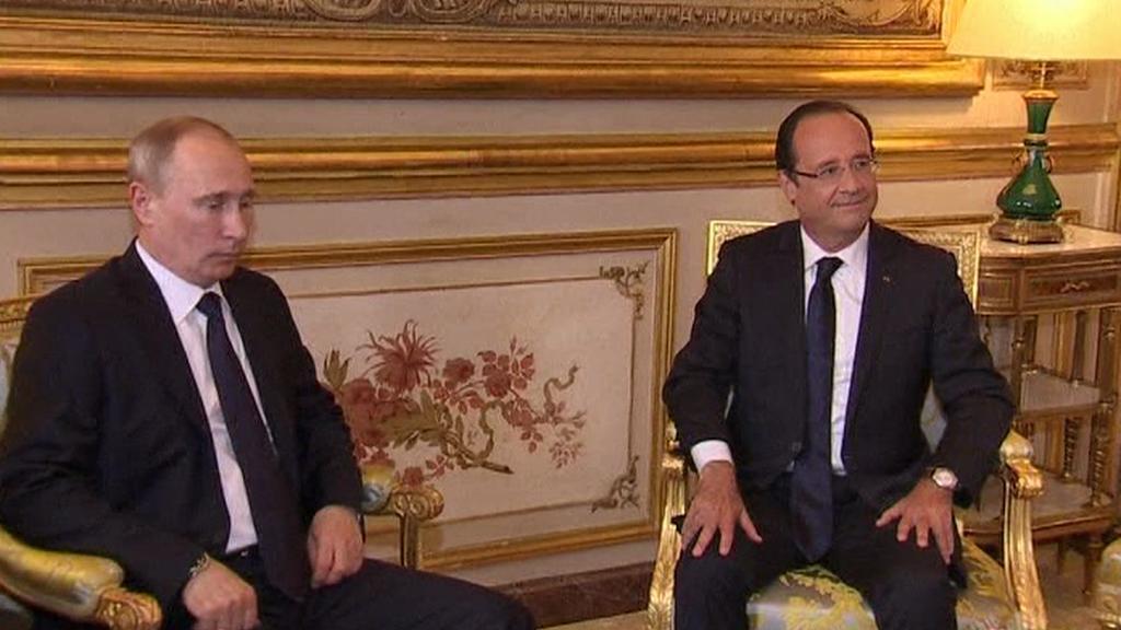 Vladimir Putin a François Hollande
