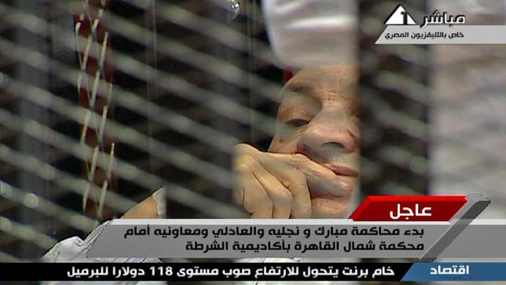 Husní Mubarak při zahájení procesu