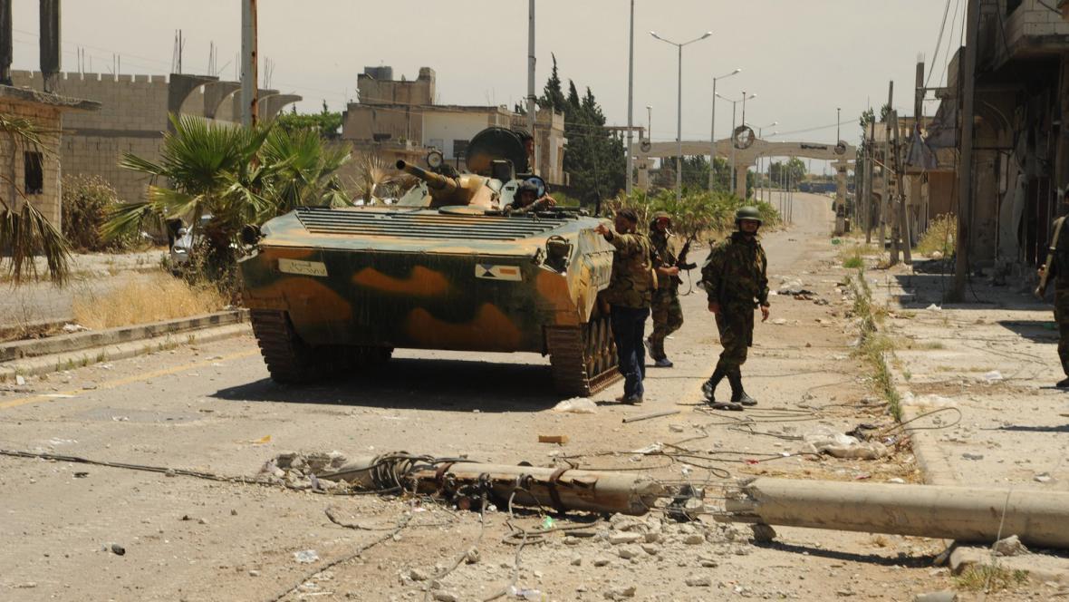 Syrská armáda ve městě Húlá