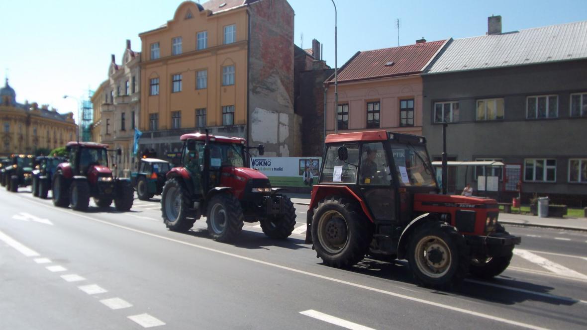 Zemědělci v kroměřížských ulicích