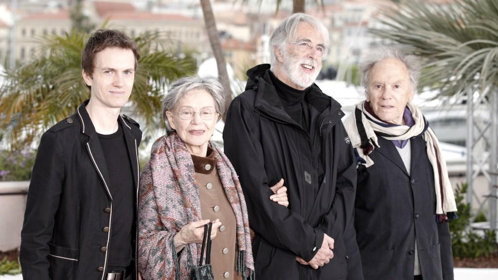 Alexandre Tharaud, Emmanuelle Rivaová, Michael Haneke a Jean-Louis Trintignant