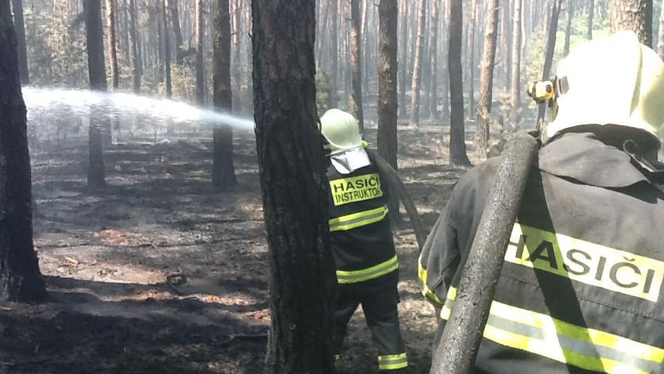 Hasiči polévají doutnající ložiska v lese u Bzence