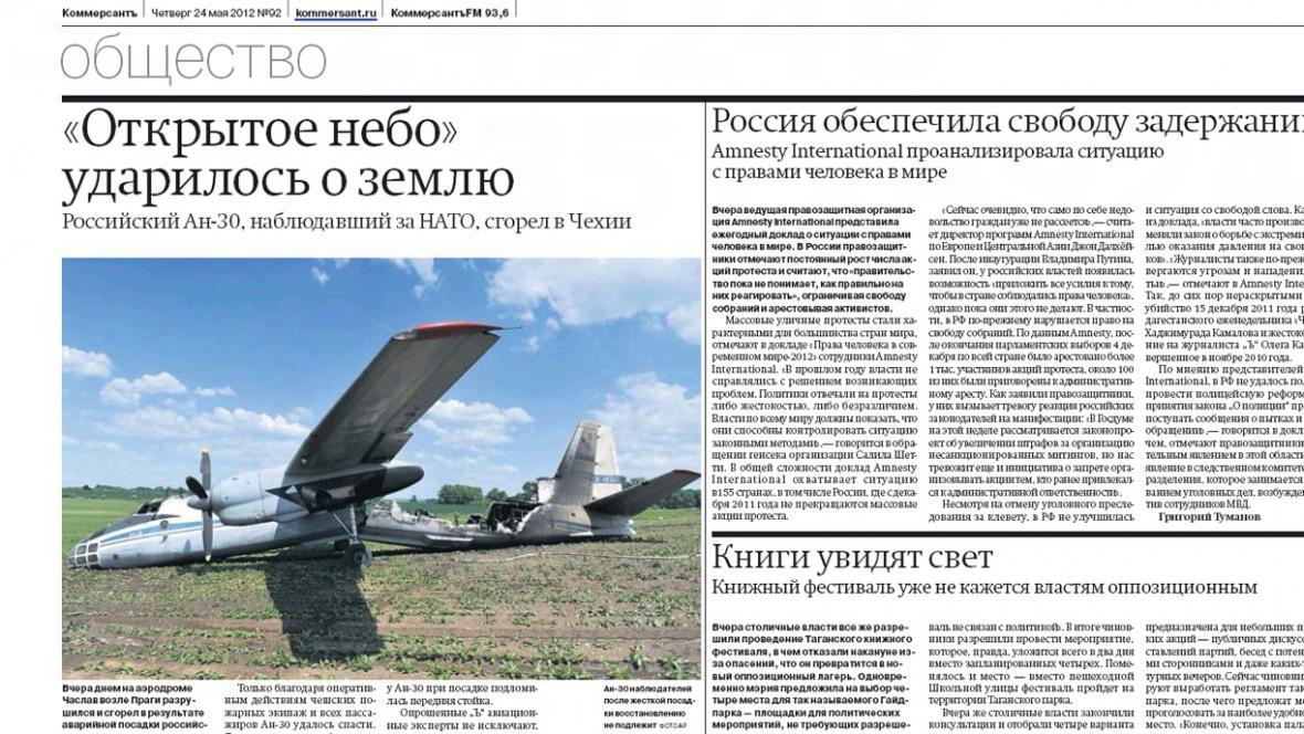 Kommersant o nehodě ruského letounu v Čáslavi