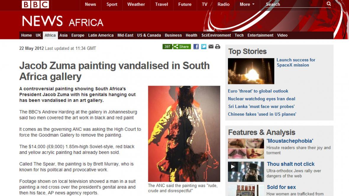 Zhanobený kontroverzní portrét Jacoba Zumy