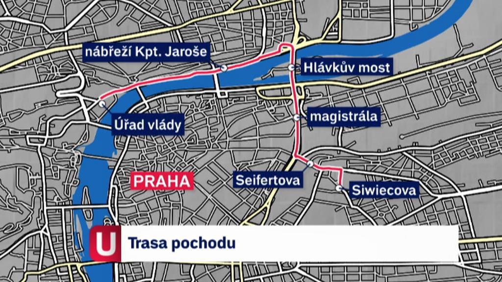 Trasa protestního pochodu 22. května