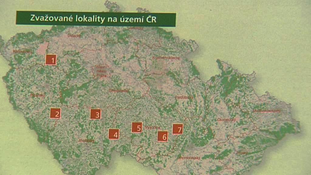 Zvažované lokality jaderného úložiště