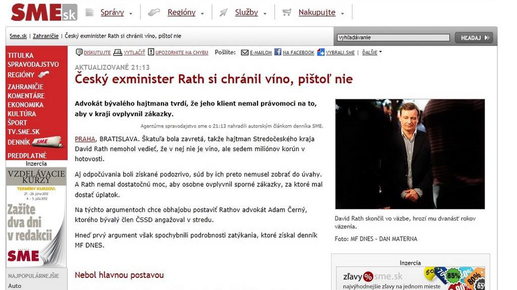 SME.sk píše o Rathovi