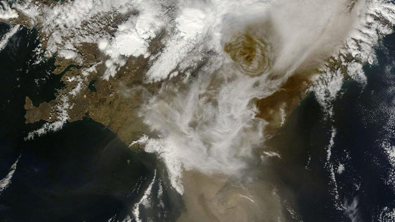 Vulkán Grímsvötn na družicovém snímku NASA