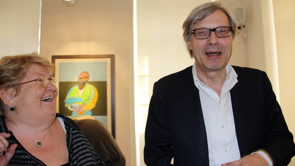 Překladatelka Alexandra Lombino a kritik Vittorio Sgarbi