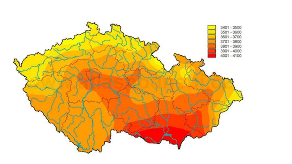 Mapa intenzity slunečního záření v ČR