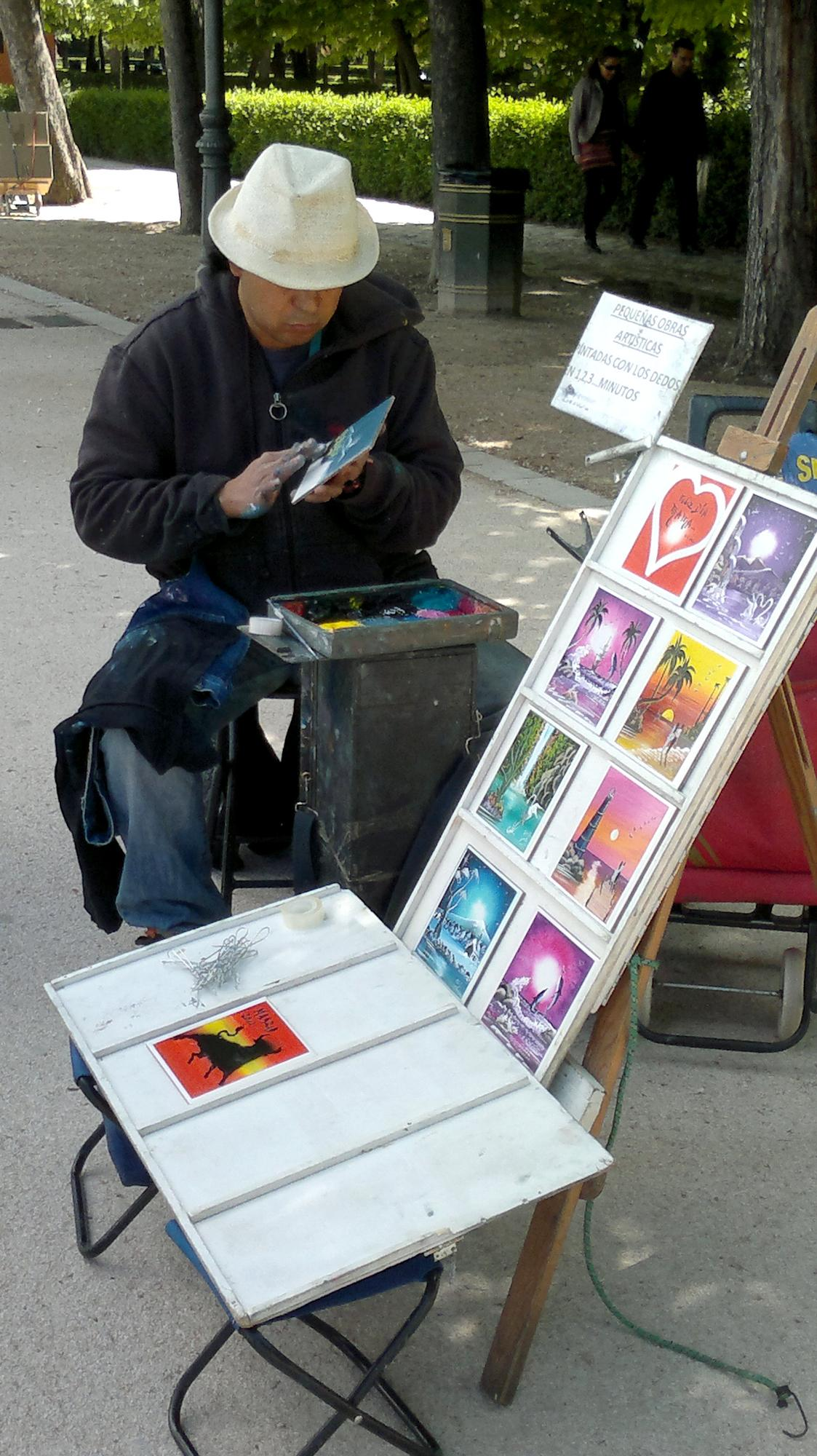 Malíř v parku Retiro