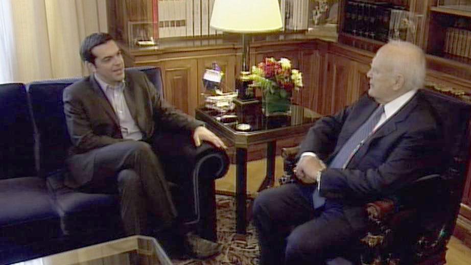 Alexis Tsipras a řecký prezident Karolos Papulias