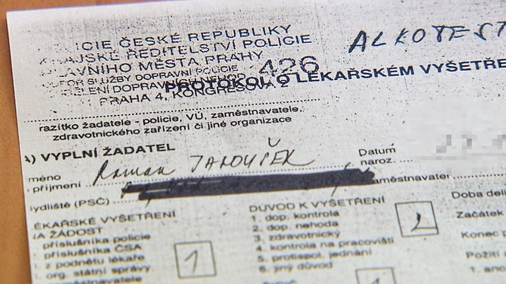 Kopie protokolu o vyšetření Romana Janouška na záchytné stanici