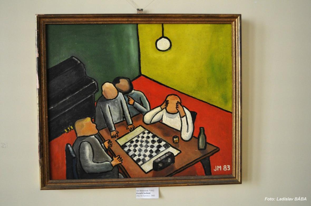 Z vernisáže výstavy obrazů J. Menouška a J. Němčického