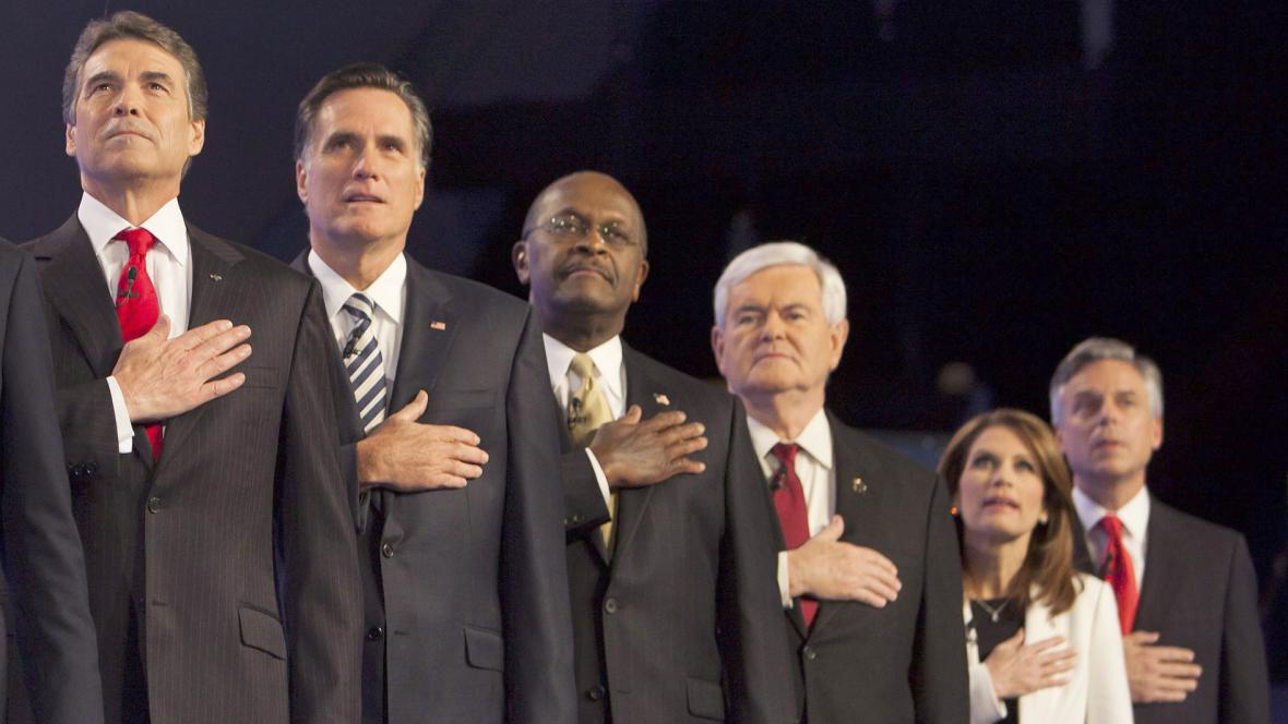 Rick Perry, Mitt Romney, Herman Cain, Newt Gingrich a Michele Bachmannová