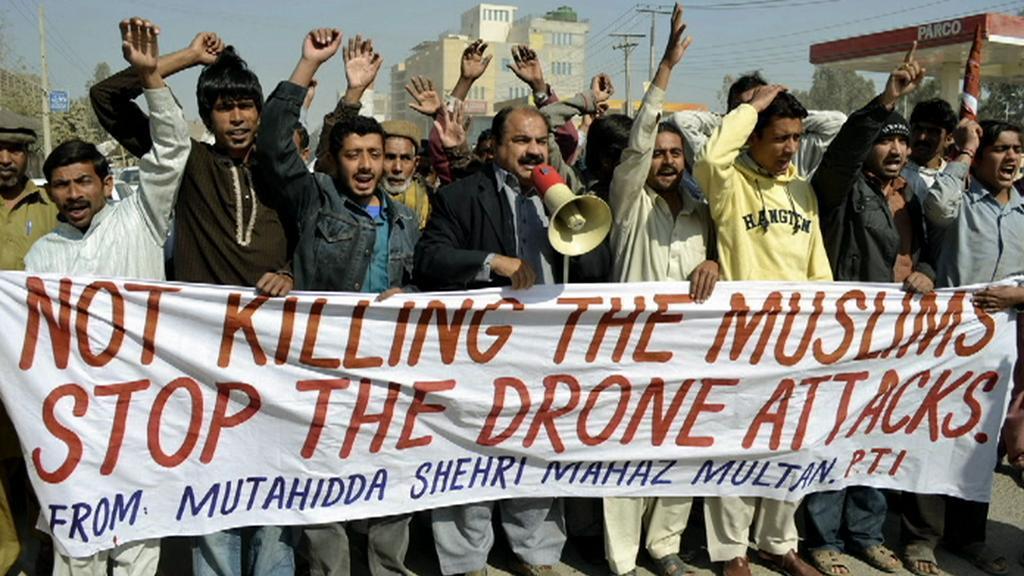 Protest proti útokům amerických bezpilotních letounů