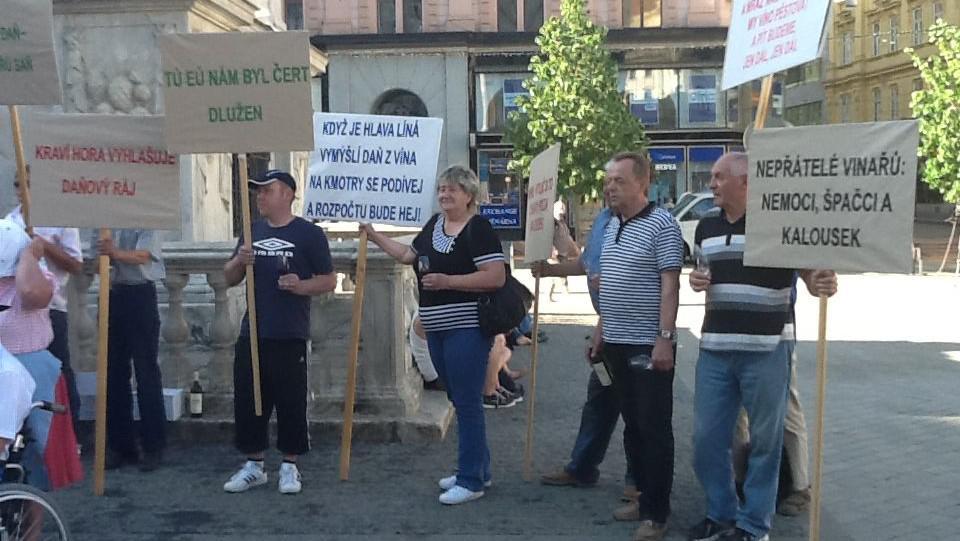 Demonstrace vinařů na náměstí Svobody v Brně