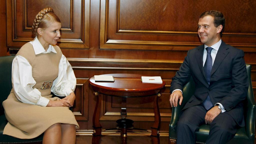 Julija Tymošenková a Dmitrij Medveděv