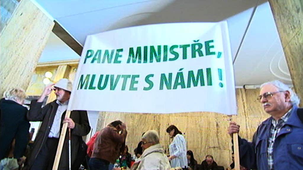 Protesty na ministerstvu zdravotnictví