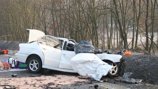 Vrak BMW po nehodě