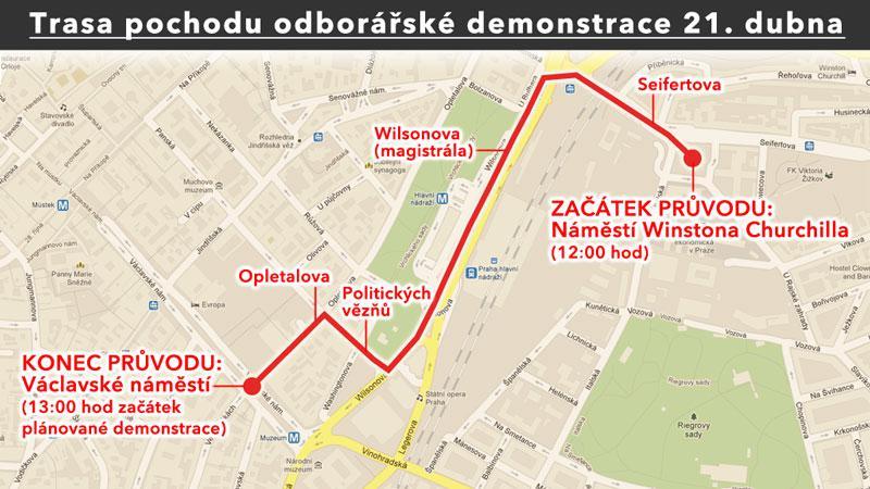 Mapa sobotního pochodu odborářů Prahou