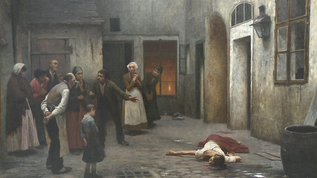 Jakub Schikaneder / Vražda v domě (detail)