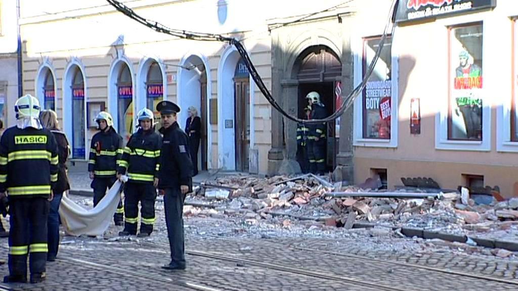 Sutiny zříceného domu v Olomouci