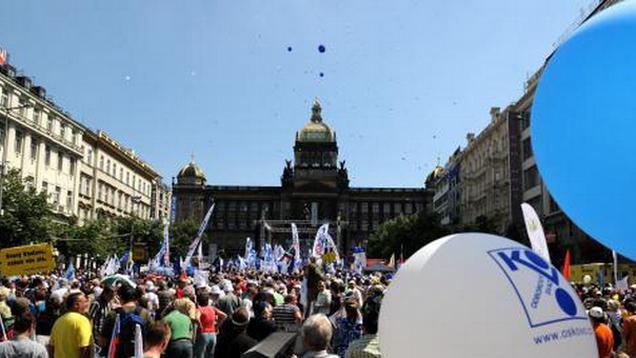 Odborová demonstrace na Václavském náměstí