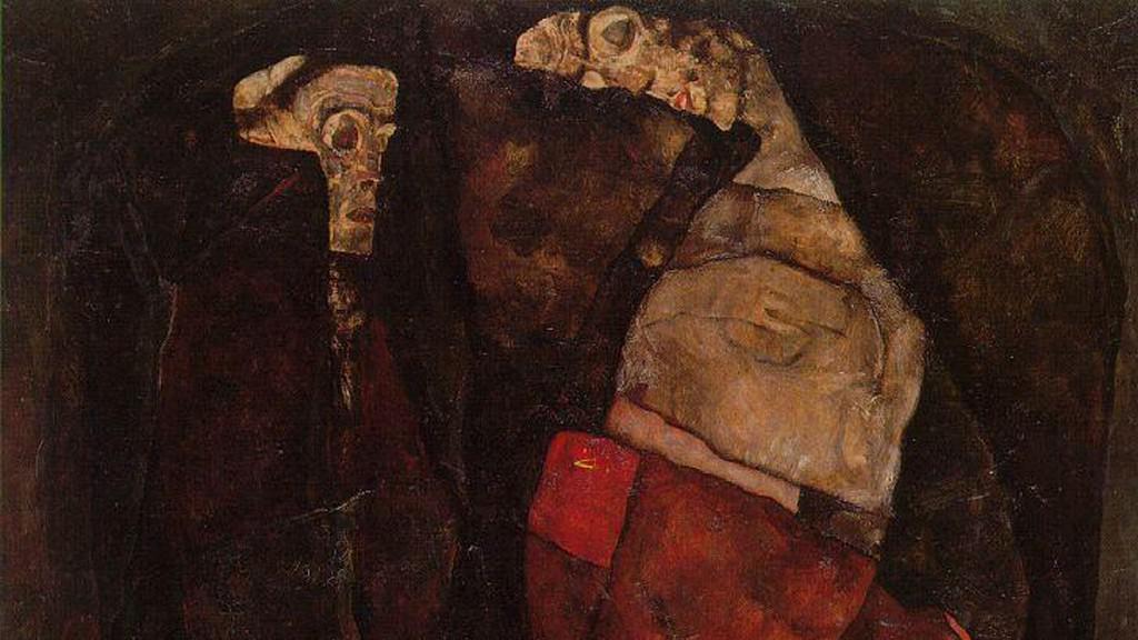 Egon Schiele / Těhotná žena a smrt (detail)