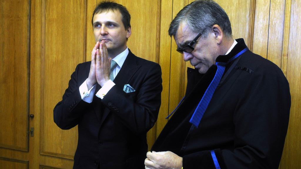 Vít Bárta a jeho obhájce Oldřich Chudoba