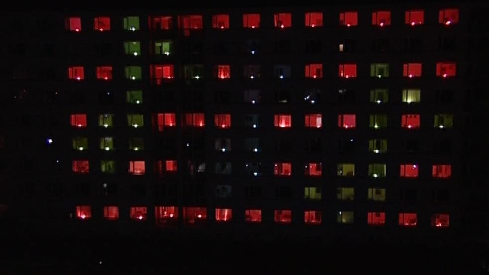 Koleje VUT rozzářila světelná show