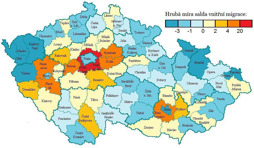 Průměrné meziokresní migrační saldo v letech 2000-2009